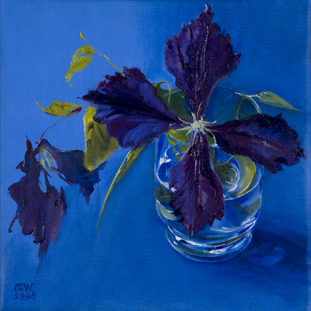 Clematis branch in glass